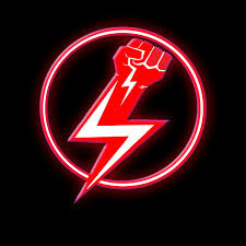 Power bacK Records lightening bolt fist logo